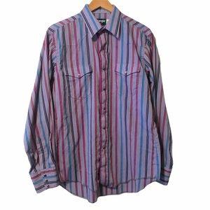 Wrangler vintage striped pear snap shirt size 16